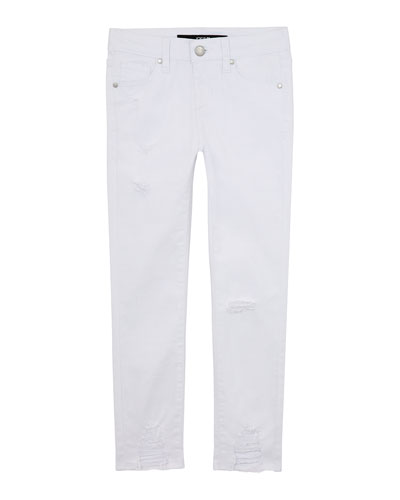 Girl's Mid Rise Destroyed Hem Ankle Jeans, Size 7-16