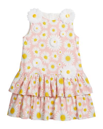 Girl's Daisy Print Knit Dress w/ 3D Daisies, Size 6-12