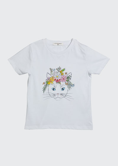 Girl's Floral Kitten Screen Graphic Tee, Size 4-12