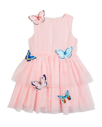 Girl's Isabella Tulle Butterfly Dress, Size 4-5
