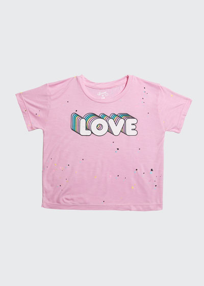 Girl's Love Short-Sleeve Splatter Tee, Size S-XL