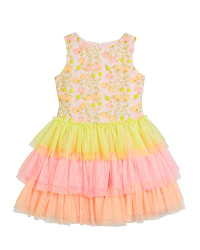 Girl's Multicolor Floral Lace Embroidered Tiered Tulle Dress, Size 8-12