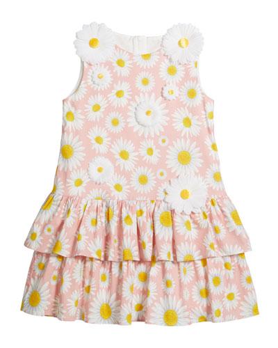 Girl's Daisy Print Knit Dress w/ 3D Daisies, Size 4-5