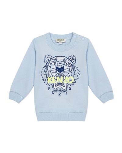 Boy's Embroidered Tiger Logo Sweatshirt, Size 6-18 Months