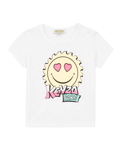 Girl's Multi-Iconic Smiley Face Graphic Tee, Size 2-3