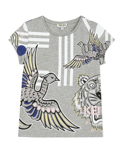 Girl's Multi Icon Graphic T-Shirt, Size 8-12
