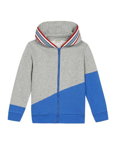 Boy's Logo Tape Zip-Front Fleece Hoodie Jacket, Size 2-6
