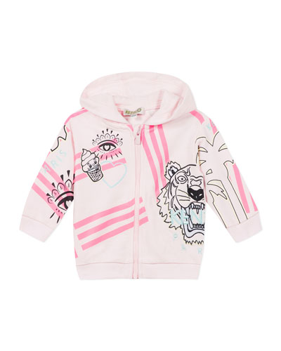 Girl's Multi Icon Graphic Hooded Fleece Jacket, Size 6-18 Months