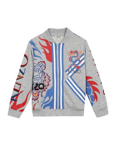 Boy's Multi-Iconic Tiger & Dragon Zip-Front Jacket, Size 2-6