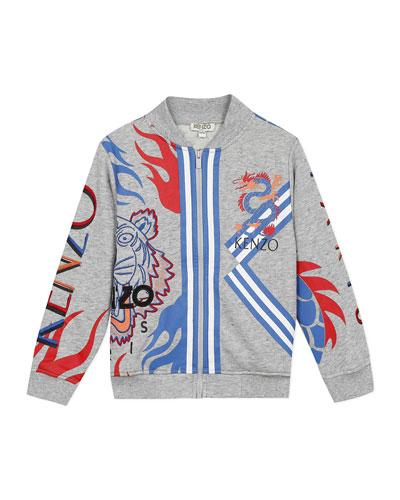 Boy's Multi-Iconic Tiger & Dragon Zip-Front Jacket, Size 8-12
