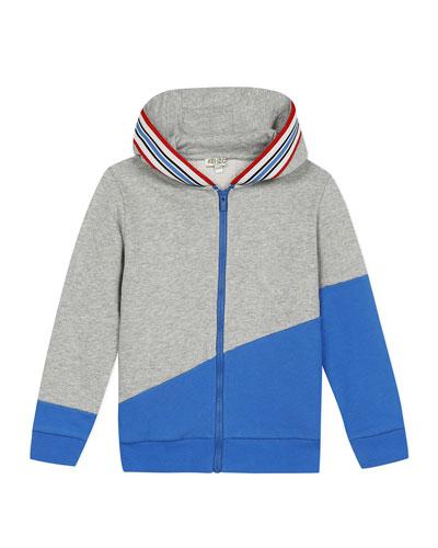 Boy's Logo Tape Zip-Front Fleece Hoodie Jacket, Size 8-12