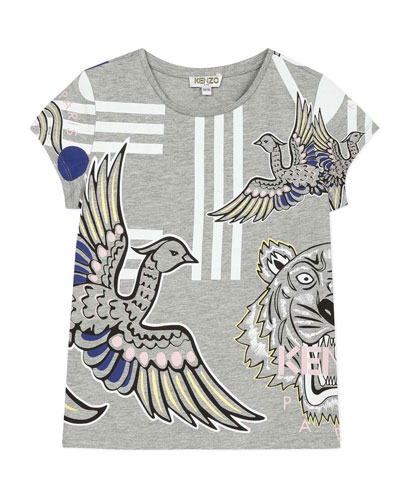Girl's Multi Icons Graphic T-Shirt, Size 2-6