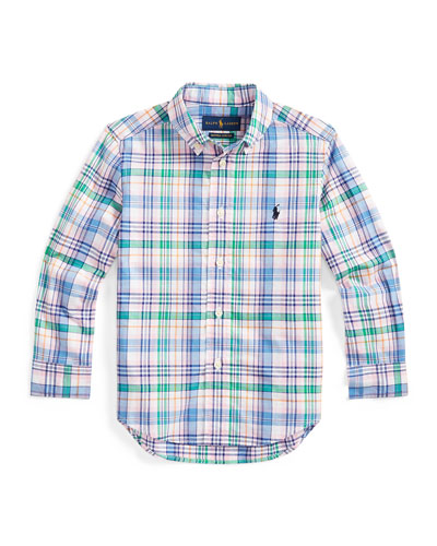Boy's Stretch Poplin Plaid Button-Down Shirt, Size 5-7