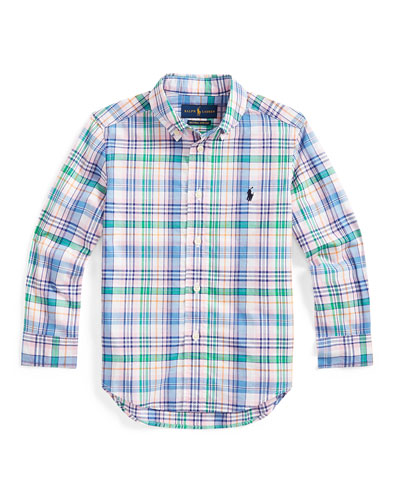 Boy's Stretch Poplin Plaid Button-Down Shirt, Size 2-4