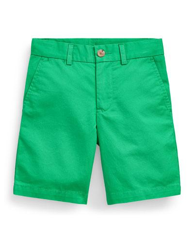 Boy's Tissue Chino Flat-Front Shorts, Size 5-7