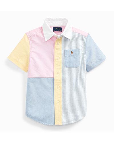 Boy's Patchwork Oxford Shirt, Size 5-7
