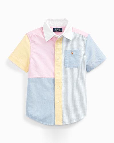 Boy's Patchwork Oxford Shirt, Size 2-4