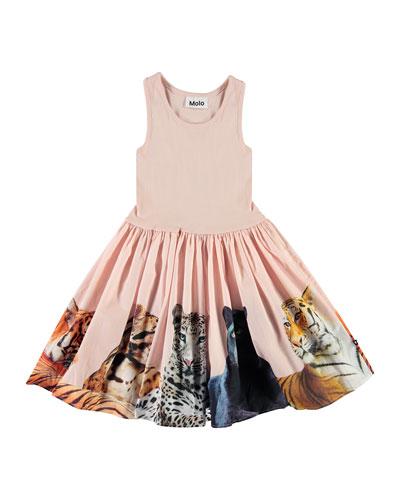 Girl's Cassandra Ribbed Sleeveless Dress w/ Big Cats Skirt, Size 3T-12