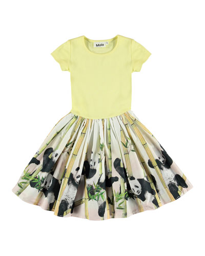 Girl's Cissa Short-Sleeve Ribbed Dress w/ Panda Print Skirt, Size 3T-12