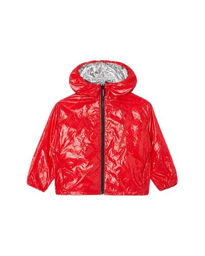 Boy's Lorenzo Embossed Logo Rain Jacket, Size 3-14