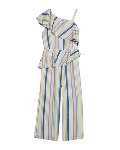 Girl's Asymmetrical Striped Ruffle Jumpsuit, Size 7-14