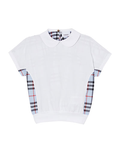 Girl's Della Check Back Short-Sleeve Jersey Top, Size 3-14
