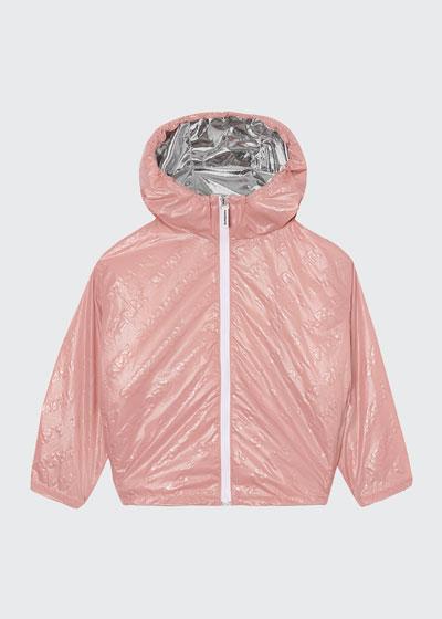 Girl's Lorenzo Embossed Logo Wind-Resistant Jacket, Size 3-14
