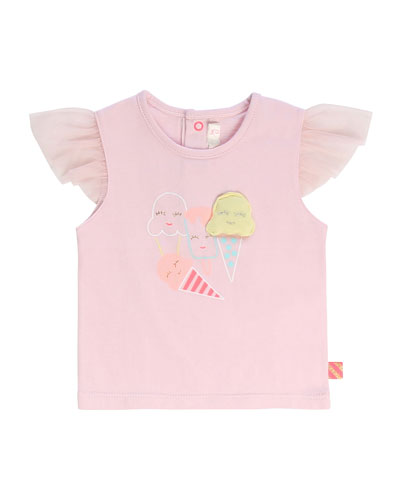 Girl's Tulle-Sleeve Ice Cream Graphic T-Shirt, Size 2-3