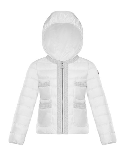 Girl's Citron Quilted Contrast Trim Jacket, Size 8-14