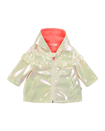 Girl's Iridescent Raincoat w/ Jersey Lining, Size 2-3
