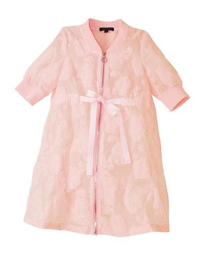 Girl's Belted Jacquard Jacket, Size 4-12