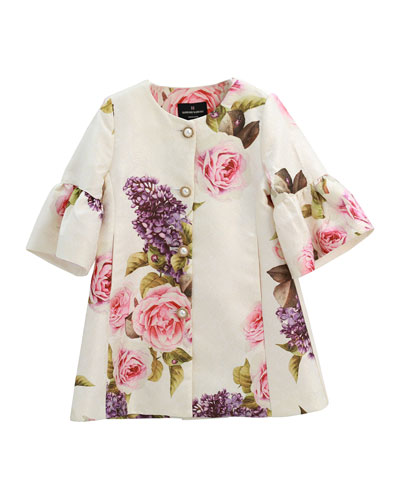 Girl's Floral Jacquard Button Front Jacket, Size 4-12