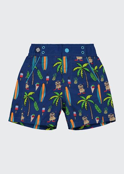 Boy's Beach Print Swim Shorts, Size 4T-7