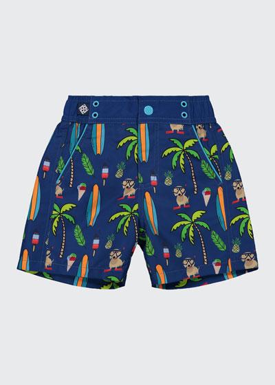 Boy's Beach Print Swim Shorts, Size 3-24 Months