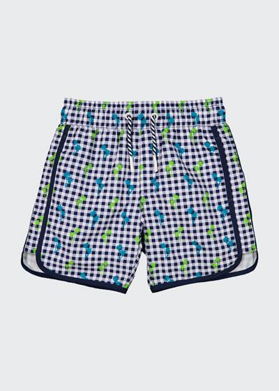 Boy's Gingham Palm Tree Print Swim Shorts, Size 3-24 Months