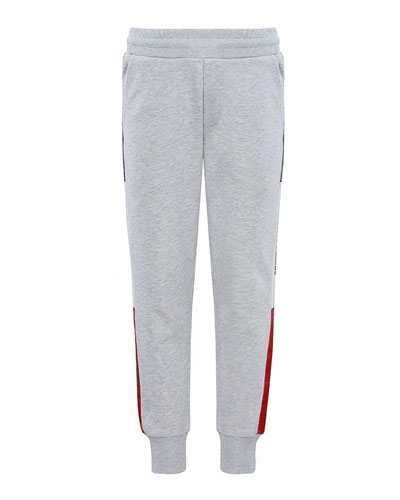 Boy's Logo Tape Sweatpants, Size 4-6