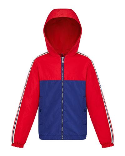 Boy's Gittaz Two-Tone Logo Tape Jacket, Size 4-6