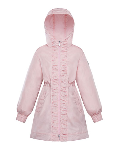 Girl's Lika Ruched Trim Long Coat, Size 4-6