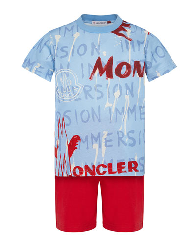 Boy's Logo Graphic Tee w/ Solid Shorts, Size 8-14