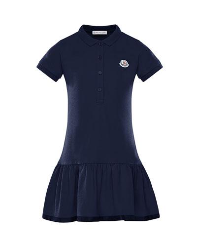 Girl's Piquet Stretch Polo Dress, Size 4-6