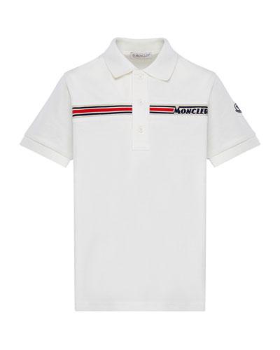 Boy's Short-Sleeve Logo Polo Shirt, Size 8-14