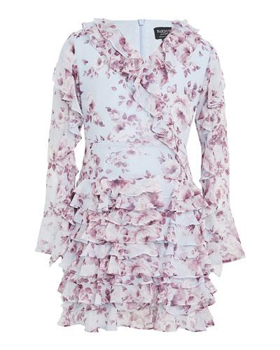 Girl's Lianna Floral-Print Frill Dress, Size 7-16