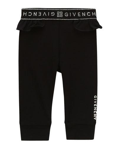 Girl's Ruffle-Trim Logo Pants, Size 2-3