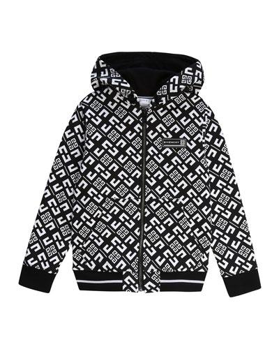 Boy's 4-G Print Mini Me Hooded Zip-Front Cardigan, Size 4