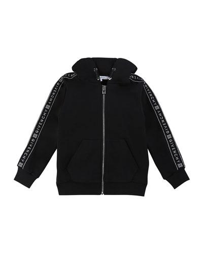 Girl's Zip-Front Logo Trim Hooded Sweatshirt, Size 4