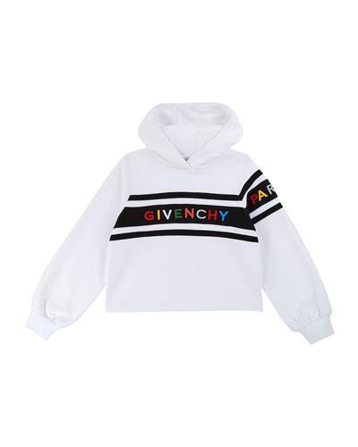 Girl's Hooded Sweatshirt w/ Multicolor Logo Text, Size 12-14