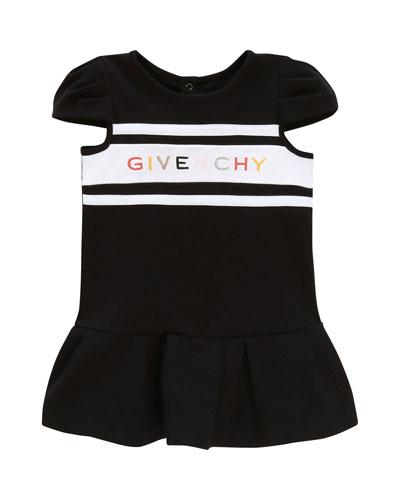 Girl's Multicolor Logo Text Dress, Size 2-3