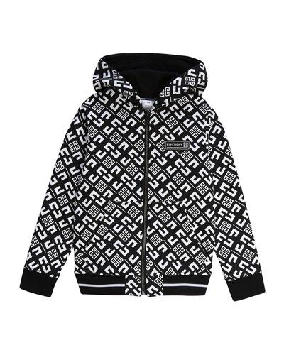 Boy's 4-G Print Mini Me Hooded Zip-Front Cardigan, Size 12-14