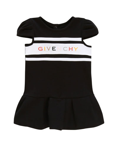 Girl's Multicolor Logo Text Dress, Size 12-18 Months