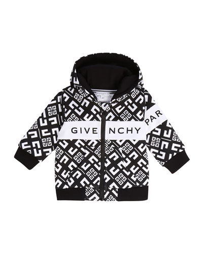 Boy's 4G Zip-Front Hooded Logo Cardigan, Size 12-18 Months